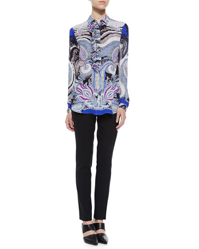 Paisley-Print Ruffled-Bib Blouse & Stretch-Wool Skinny-Fit Pants