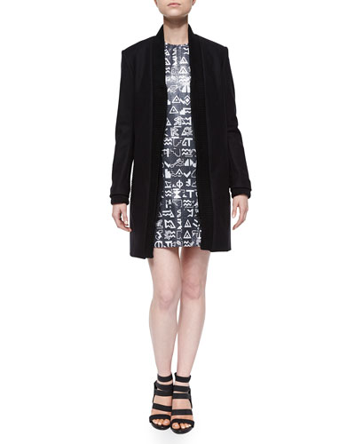 Ribbed-Trim Open Jacket & Symbols-Print Sequined Sleeveless Dress