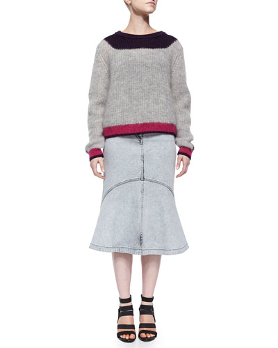 Colorblock Ribbed Mohair Sweater & Snow-Washed Flared Denim Skirt