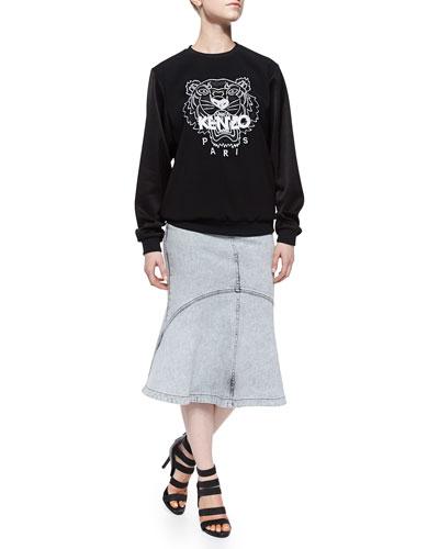 Crepe-Sleeve Tiger Sweatshirt & Snow-Washed Flared Denim Skirt