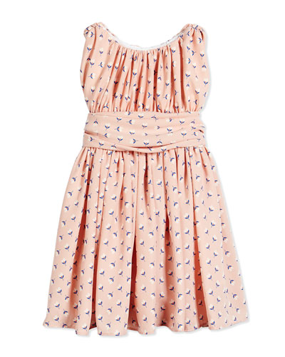 Floral Shirred Chiffon Dress, Pink