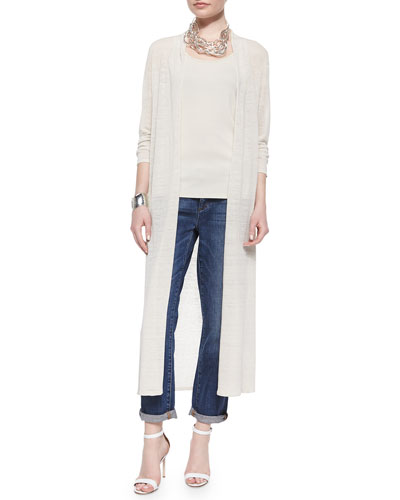 Washable Linen Crepe Maxi Cardigan, Long Stretch Silk Camisole & Organic Soft Stretch Skinny Jeans