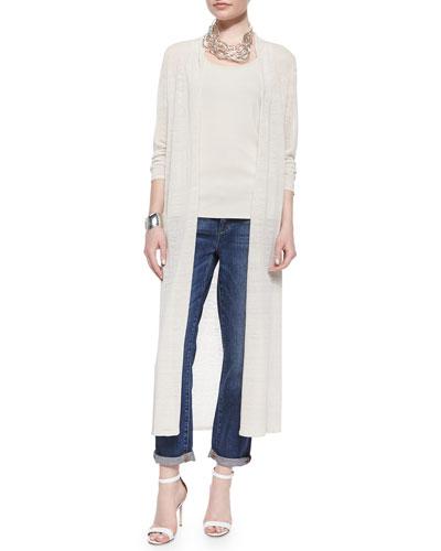 Washable Linen Crepe Maxi Cardigan, Long Silk Cami & Organic Soft Stretch Skinny Jeans, Women's
