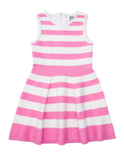 Striped A-Line Knit Dress, Candy