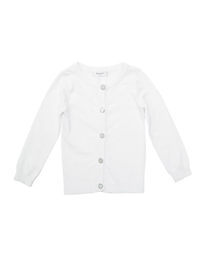 Long-Sleeve Novelty-Button Cardigan, White