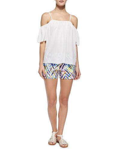 Rosanna Spaghetti-Strap Cold-Shoulder Top & Corbin Animal-Print Shorts