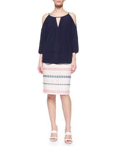 Posh 3/4-Sleeve Keyhole Blouse & Dorris Tweed Pencil Skirt