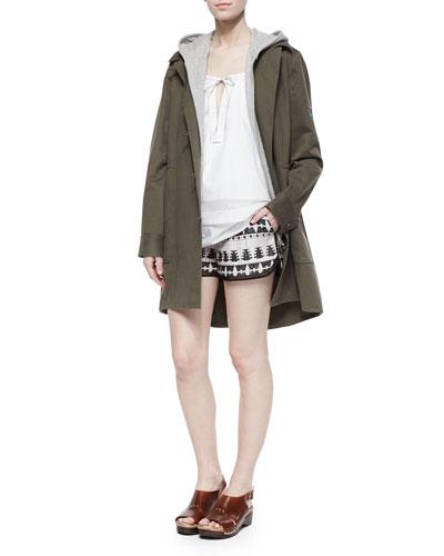 Heavy Twill/Knit Hooded Coat, Layered Sleeveless Poplin Top & Tribal-Pattern Relaxed Shorts