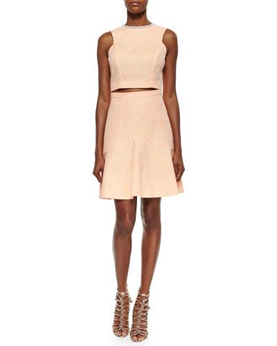 Avril Jacquard Crop Top & Eden Flounce-Hem Skirt