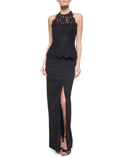 Floral Lace Halter Top & Stretch Crepe Front-Slit Maxi Skirt