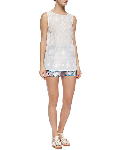 Sheer Embroidered Tank & Isla Ripple Vented Shorts
