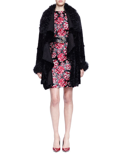 Draped Open Shearling Fur Coat & Bracelet-Sleeve Floral-Jacquard Sheath Dress
