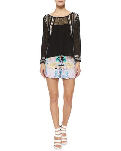 Flyaway Mesh Pullover Top & Nitty Floral-Print Skort