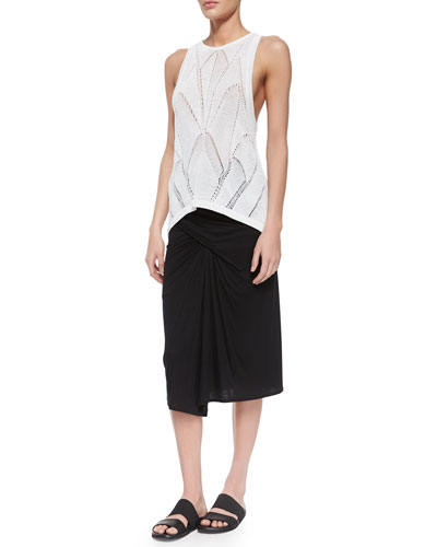 Fractured Lace Tank & Entity Draped Jersey Skirt