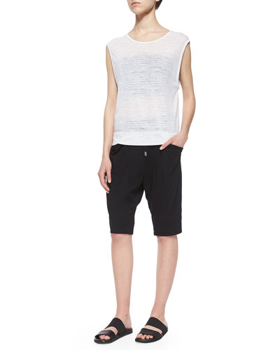 Vessel Burnout Sleeveless Top, Strapless Pleated Bra Top & Drawstring Draped-Pocket Knee Shorts