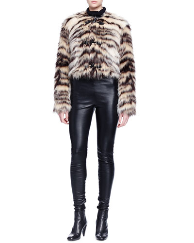 Zebra-Striped Faux-Fur Toggle Jacket, Cashmere-Silk Turtleneck Sweater & Skinny-Fit Leather Trouser