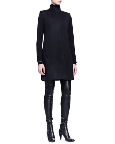 Sleeveless Wool Long Jacket, Cashmere-Silk Turtleneck Sweater & Skinny-Fit Leather Trouser