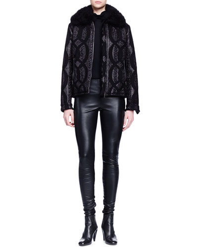 Shearling-Trimmed Cable-Jacquard Jacket, Cashmere-Silk Turtleneck Sweater & Skinny-Fit Leather Trouser