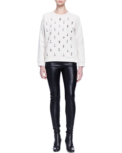 Crystal-Embroidered Jersey Sweatshirt & Skinny-Fit Leather Trouser