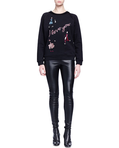 """I Love You"" Crystal-Embroidered Sweatshirt & Skinny-Fit Leather Trouser"