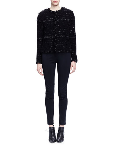 Boucle-Knit Paneled Jacket & Skinny-Fit Raised-Seam Trouser