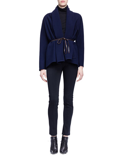 Draped Open-Front Jacket, Cashmere-Silk Turtleneck Sweater & Skinny-Fit Raised-Seam Trouser