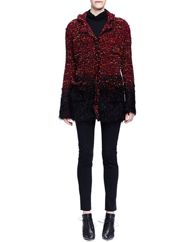 Boucle-Knit Faux-Fur-Trimmed Coat, Cashmere-Silk Turtleneck Sweater & Skinny-Fit Raised-Seam Trouser