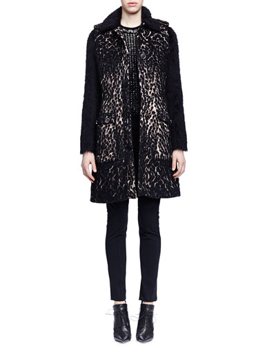 Leopard-Print Shaggy-Weave Coat, Contrast-Knit Fringe-Trimmed Top & Skinny-Fit Raised-Seam Trouser