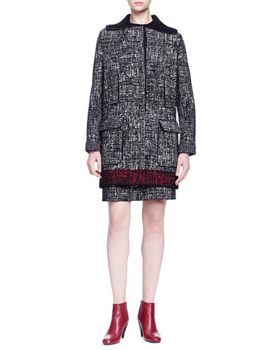 Faux-Fur-Trimmed Contrast-Bordered Tweed Coat & Short-Sleeve Colorblock Tweed Dress