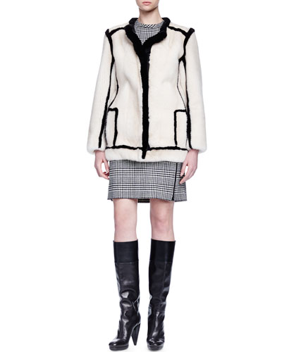 Contrast-Outlined Mink Fur Jacket & Wrap-Around-Zip Glen Plaid Dress