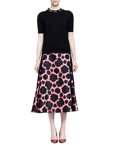 Short-Sleeve Jeweled-Neck Top & Mixed Floral-Print Midi Skirt