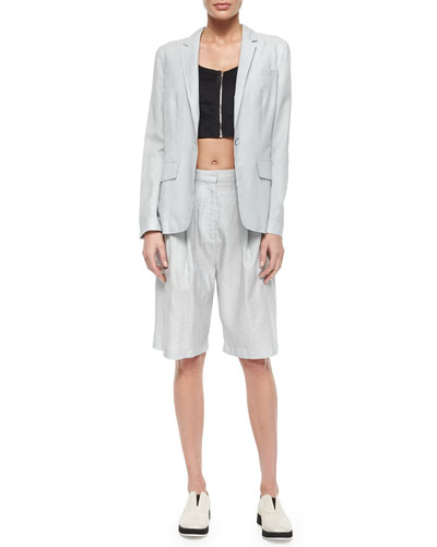 Chatham Striped One-Button Blazer, Maia Zip-Front Crop Top & Hemstead Striped Long Shorts