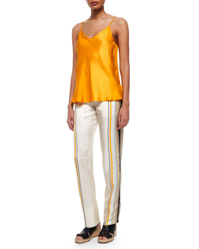 Cove Sleeveless Silk Top & Smith Striped Silk Pants