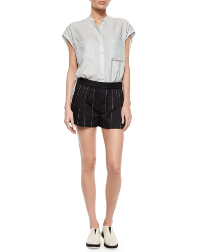 Manon Cap-Sleeve Striped Shirt & Pico Striped Pleated Shorts