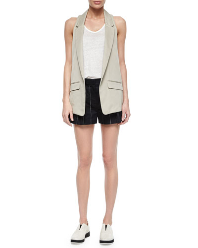 Ines One-Button Vest, Dunes Linen Racerback Tank & Pico Striped Pleated Shorts