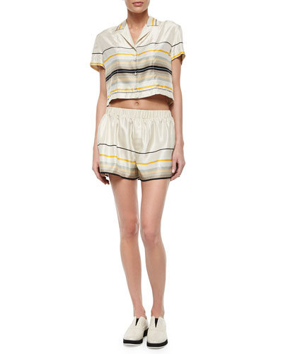 Layne Short-Sleeve Striped Top & Holten Striped Flared Shorts