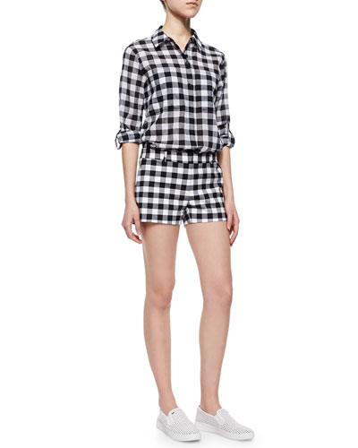 Waterfront Gingham Button-Front Top &  Mini Shorts