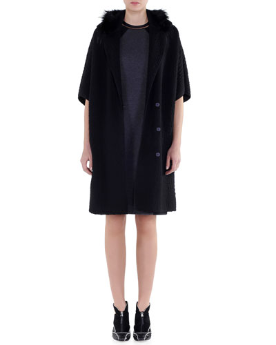 Fur-Trimmed Matelasse Coat & Bicolor Interlock Jersey Dress
