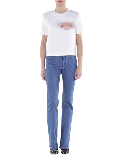 Double-Faced T-Shirt w/ Fox Fur Eyes & Slim-Fit Boot-Cut Jeans