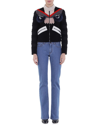 Bug Eyes Fur-Embellished Shearling Jacket & Slim-Fit Boot-Cut Jeans