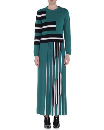 Cashmere Stair-Step Striped Sweater & Contrast Stair-Step Striped Maxi Skirt