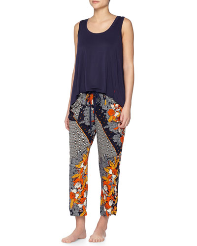 Swing Knit Tank with High-Low Hem & Kinali Diamond/Floral-Print Lounge Pants