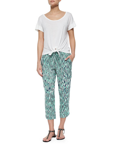 Jersey-Knit Tie-Front Tee & Graphic-Print Drawstring Capri Pants
