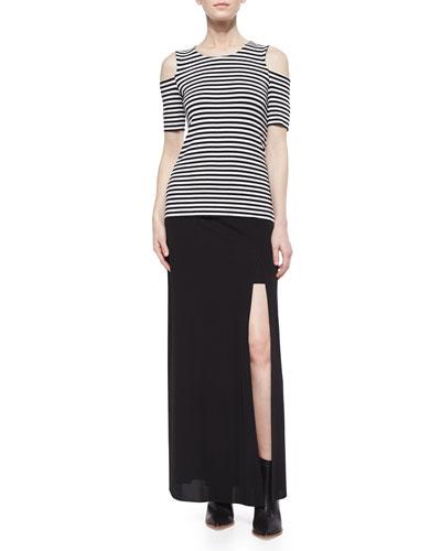 Bardot Striped Cold-Shoulder Top & Spretto Slit Maxi Skirt
