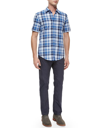 Large Check Short-Sleeve Sport Shirt & Five-Pocket Stretch-Cotton Pants