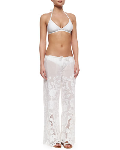 Rothko Textured Halter Swim Top, Paloma Textured Hipster Swim Bottom & Penelope Eyelet Drawstring Pants