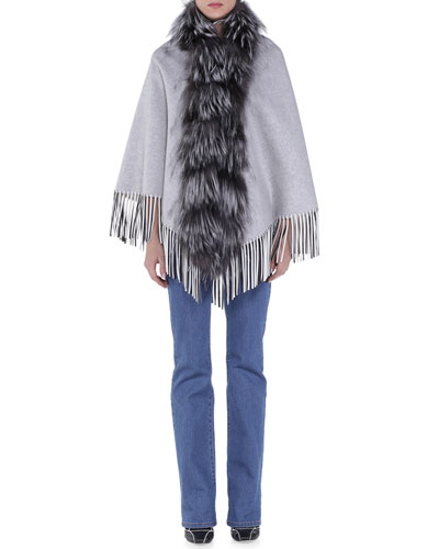 Fur-Trimmed Leather-Fringe Cape & Slim-Fit Boot-Cut Jeans