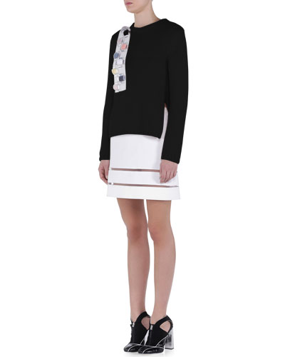 Cashmere Crystal Fur Applique Sweater & Sheer-Striped Double-Faced Mini Skirt
