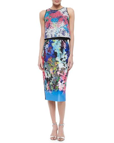Floral-Print Paillette Crop Top & Ombre Floral-Print Midi Pencil Skirt