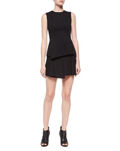 Sleeveless Asymmetric-Hem Top & Paneled Mini Skirt